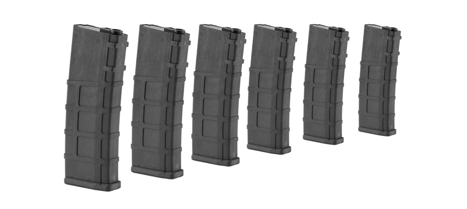 Photo Airsoft Magazine Real Cap 30 rds for M4 AEG Polymer Black - Pack of 6 pcs